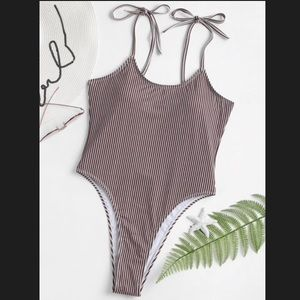 Striped one piece open back bikini